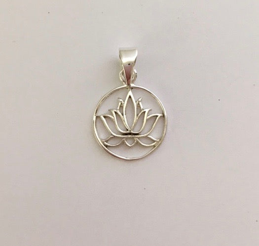 Sterling Silver Lotus Small Round Pendant