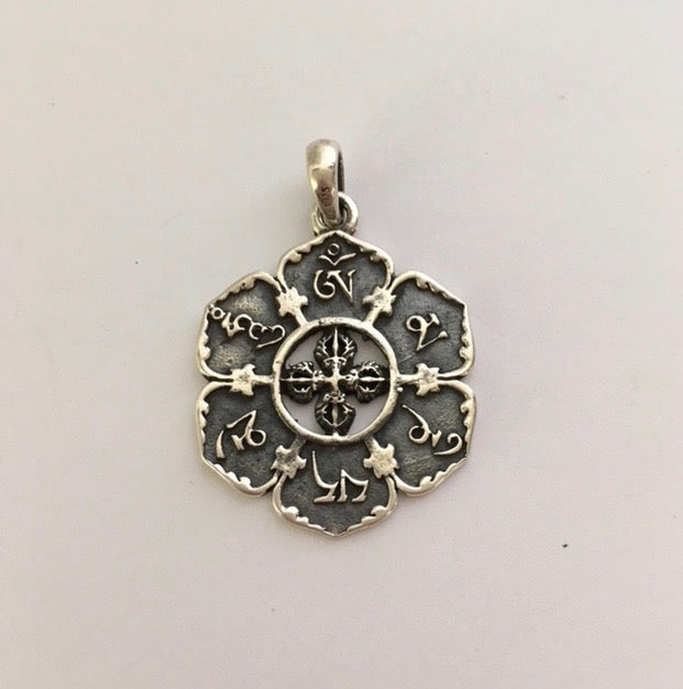 Sterling Silver Double Vajra with Mane Mantra, Lotus Shaped Pendant