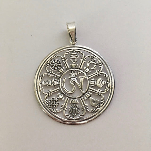 "Sterling Silver Round Tibetan ""OM"" Pendant with Auspicious Symbols"