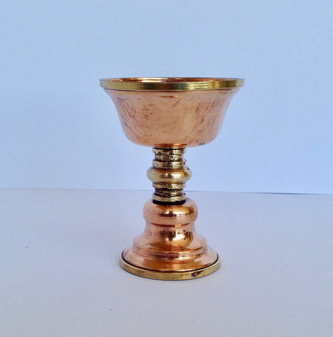 Tibetan Copper Butterlamp - 8.5 cm