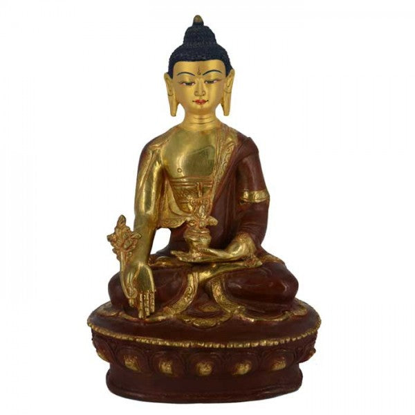 Medicine Buddha 6 Inch Copper Statue with Painted Gold Face