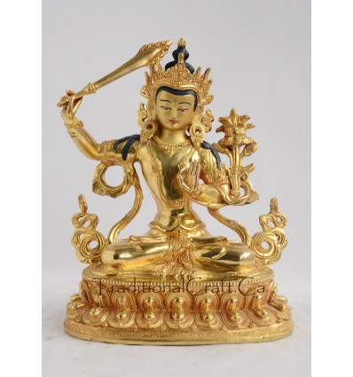 Manjushri 6.5 Inch Copper Statue with Painted Gold Face