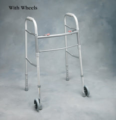 Two Button Folding Walker w/5in Wheels