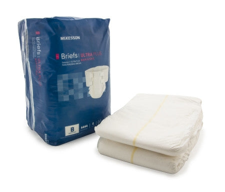 McKesson Adult Incontinent Brief Ultra Plus Tab Closure Bariatric Disposable Heavy Absorbency