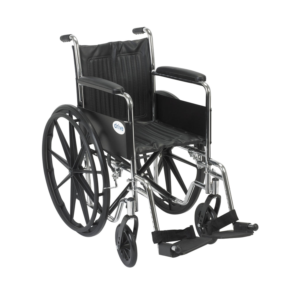 Chrome Sport Wheelchair, Fixed Full Arms, Swing away Footrests
