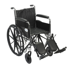 Chrome Sport Wheelchair, Fixed Full Arms, Elevating Leg Rests