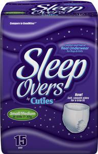 Sleep Overs® Youth Absorbent Underwear Pull On Small / Medium Disposable Heavy Absorbency