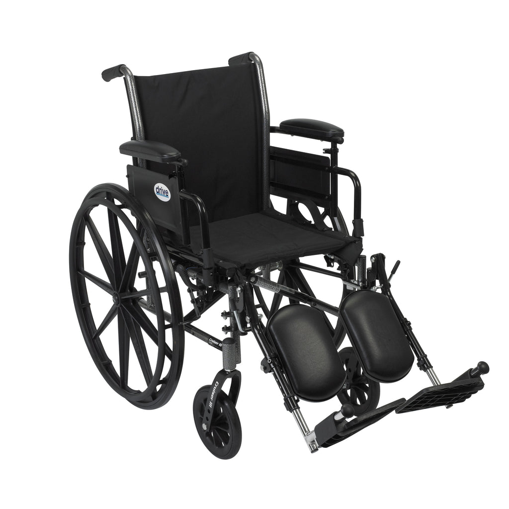 Cruiser III Light Weight Wheelchair with Flip Back Removable Arms, Adjustable Height Desk Arms, Elevating Leg Rests