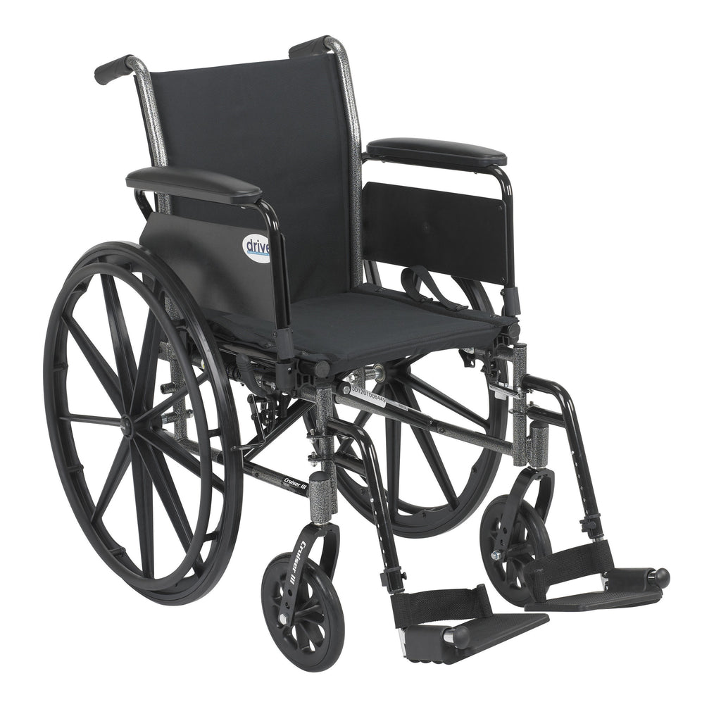Cruiser III Light Weight Wheelchair with Flip Back Removable Arms, Full Arms, Swing away Footrests