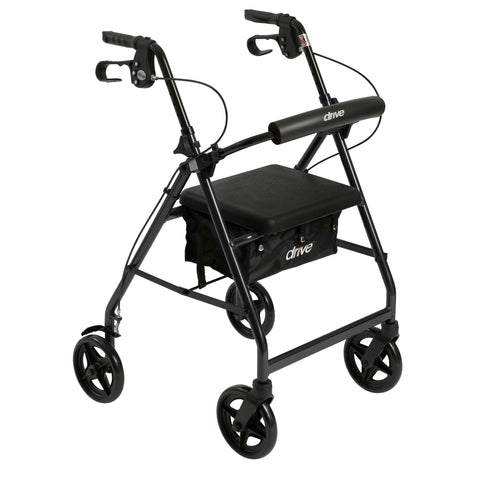 Aluminum Rollator with Fold Up and Removable Back Support and Padded Seat, Black