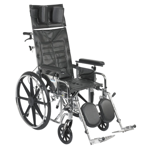 "Sentra Reclining Wheelchair, Detachable Adjustable Height Full Arms, 18"" Seat"