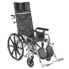 Sentra Reclining Wheelchair, Detachable Adjustable Height Full Arms