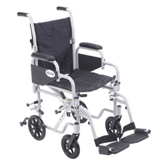 "Poly Fly Light Weight Transport Chair Wheelchair with Swing away Footrests, 16"" Seat"