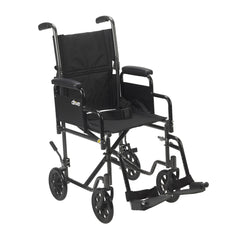 Lightweight Steel Transport Wheelchair, Detachable Desk Arms