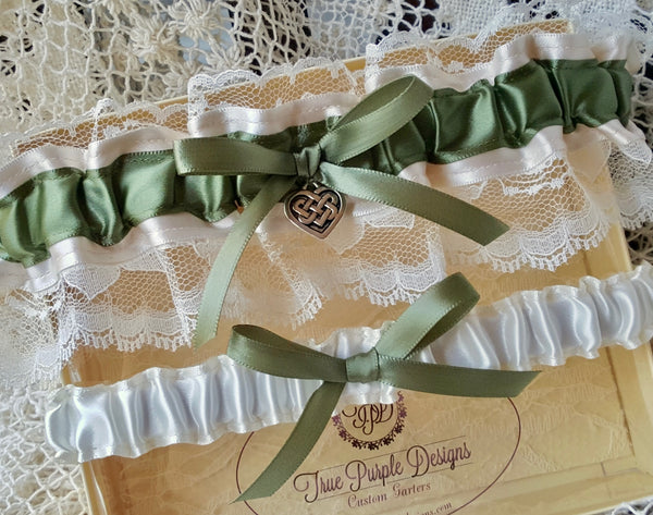 Ivory Satin and Moss Green Garter Set with Celtic Knot Heart