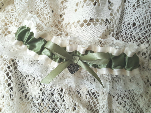 Ivory Satin and Moss Green Keepsake Garter with Celtic Knot Heart