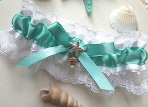 Aqua & White Beach Garter With Starfish and Bottle Charm
