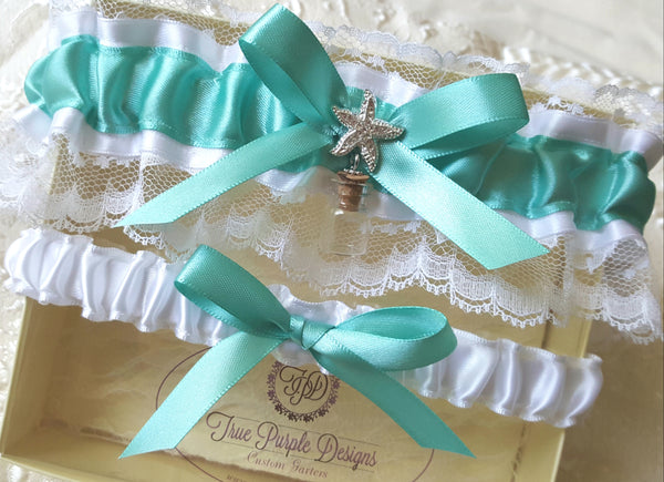 Aqua & White Beach Garter Set With Starfish and Bottle Charm
