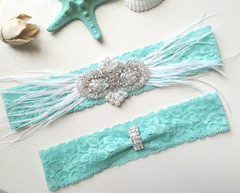 Aqua Stretch Lace Garter Set With Pearls, Rhinestones & Feathers