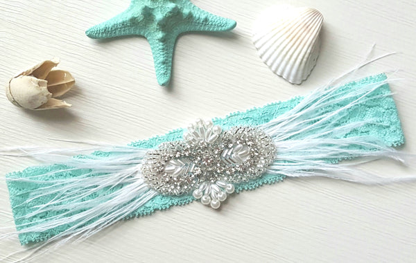 Aqua Stretch Lace Garter With Pearls, Rhinestones & Feathers
