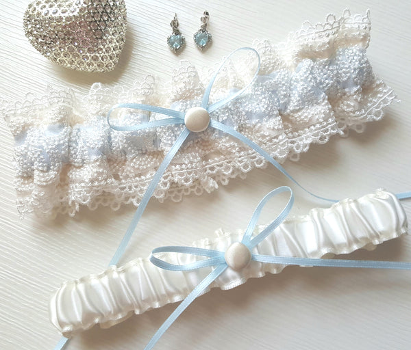 Ivory and Pale Blue Satin Embroidered Lace Garter Set
