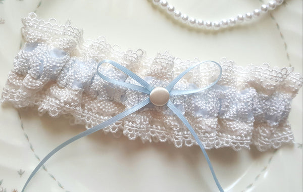 Ivory and Pale Blue Satin Embroidered Lace Garter
