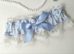 French Blue & Ivory Lace Victorian Garter