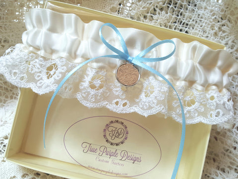 Ivory Satin & English Lace Garter With Sixpence