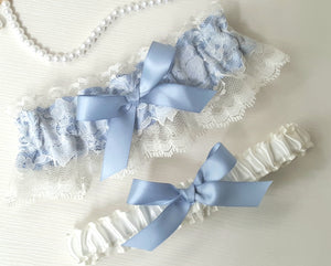 French Blue & Ivory Lace Victorian Garter Set