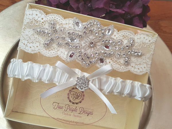 Ivory Lace & Satin Czech Rhinestone Beaded Garter Set