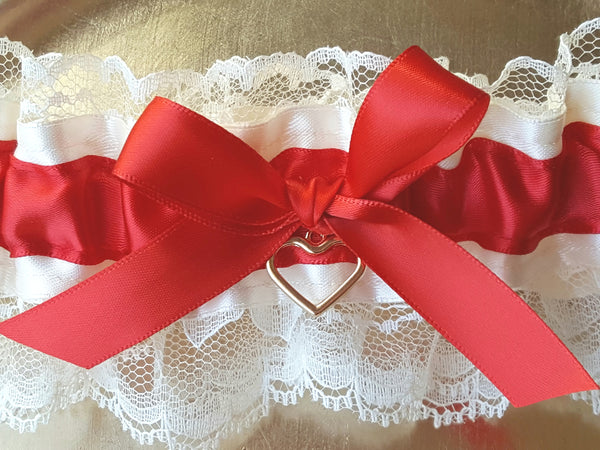 Red & Ivory Satin Garter Set with Heart Charm
