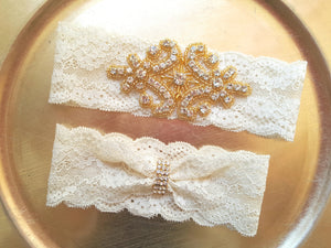 Gold Beaded & Rhinestone Stretch Lace Garter Set