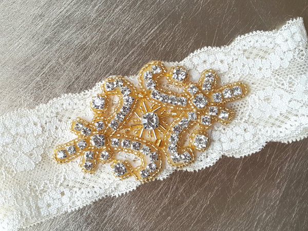 Gold Beaded & Rhinestone Stretch Lace Garter