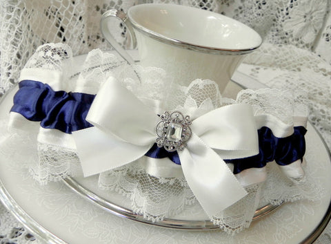 Navy Blue & Ivory Satin and Lace Garter
