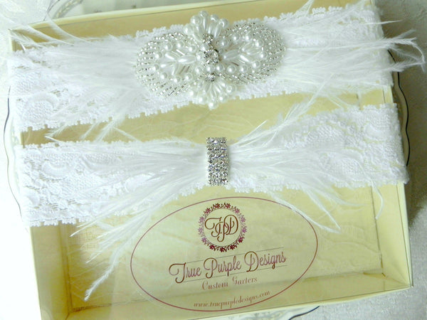 White Lace Ostrich Feather Garter Set with Rhinestones & Pearls