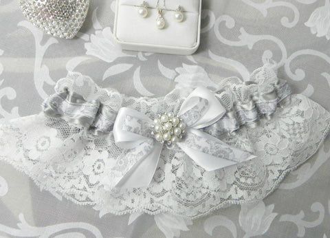 Silver Grey Floral & White Satin Lace Garter