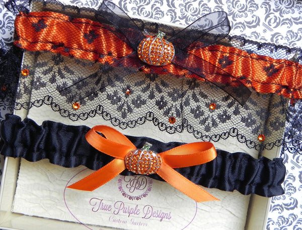 Black Lace Halloween Pumpkin Garter Set