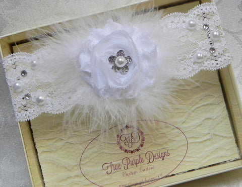 White Lace Swarovski Garter with Flower & Feathers