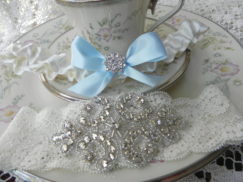 Ivory Lace & Satin Rhinestone Garter Set with Blue Bow