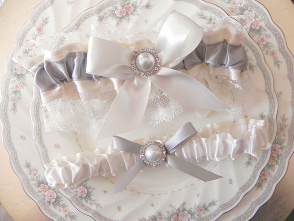 Ivory & Silver Gray Satin and Lace Garter Set