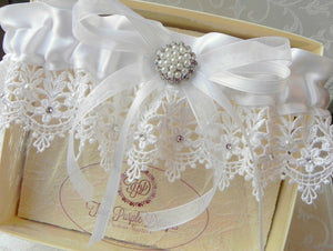 White Satin & Venise Lace Garter With Swarovski Crystals and Pearls