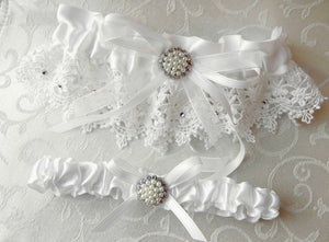 White Satin & Venise Lace Garter Set With Swarovski Crystals and Pearls