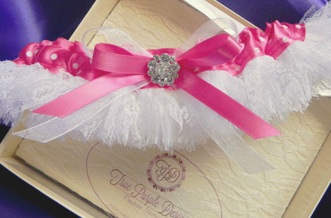 Hot Pink Dotted Satin & White Fringe Lace Garter