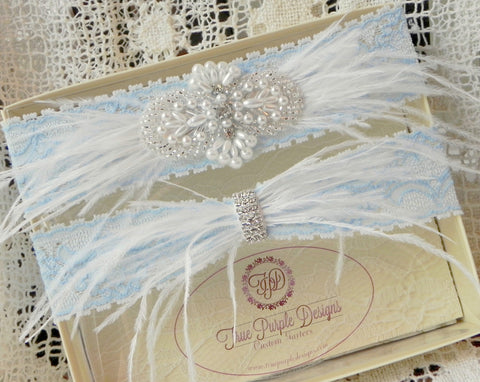 Pale Blue Lace Ostrich Feather Garter Set