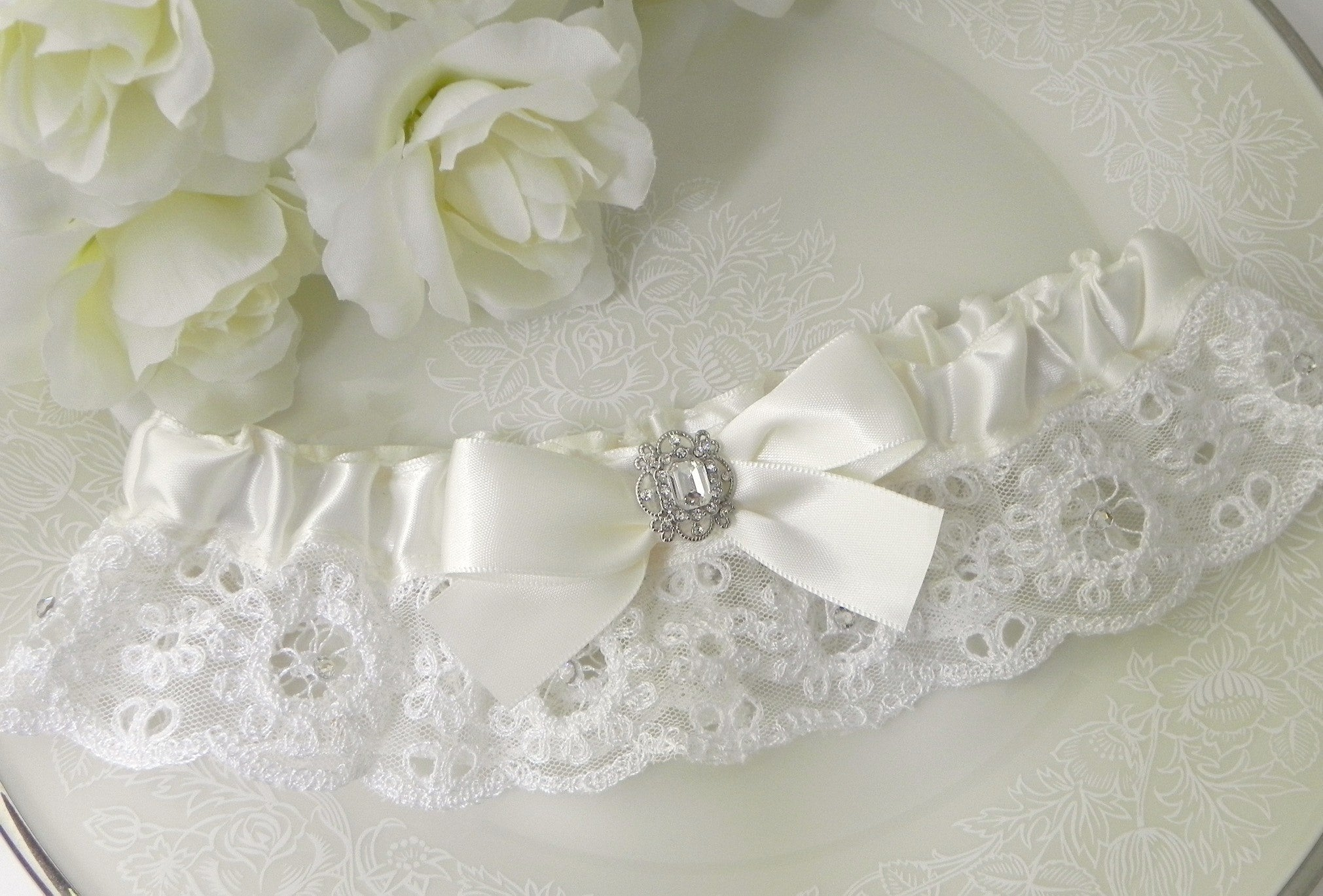Ivory Satin & English Lace Garter with Swarovski Crystals