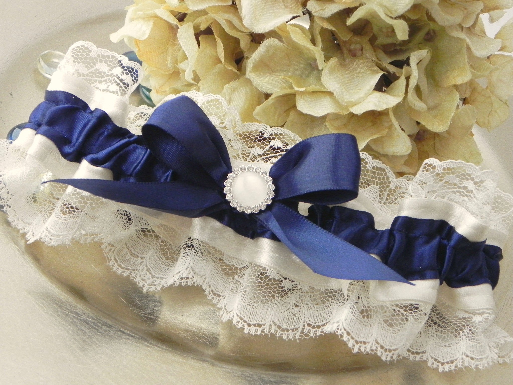 Navy & Ivory Satin and Lace Garter