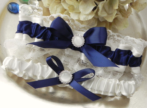 Navy & Ivory Satin and Lace Garter Set
