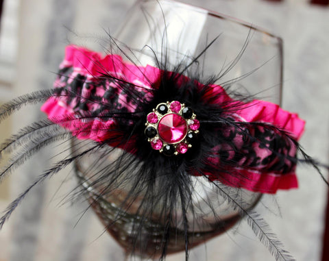 Pink & Black Damask Satin Feather Garter