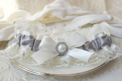 Ivory & Silver Gray Satin and Lace Garter