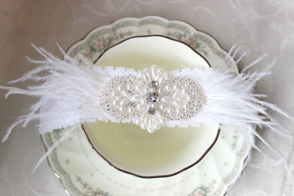 White Lace Ostrich Feather Garter with Rhinestones and Pearls